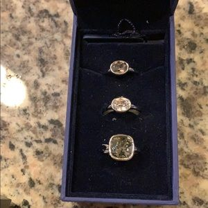 Three set Swarovski rings standard size